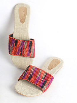 Hand Embroidered Flats with Jute Insole