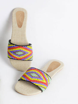 Aztec Multi-Colour Beaded Slides