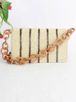 Cream and Brown Beaded Bag with Statement Chain