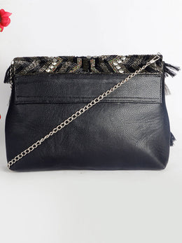 Black Beaded Bag with Tassels