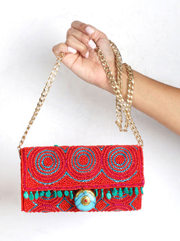 Fuchsia Pink and Turquoise Lock Sling Bag