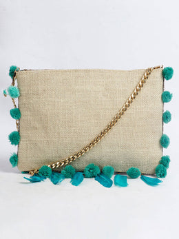 Evil Eye Beaded Feather Sling Bag