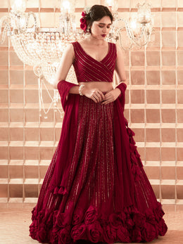 Oxblood Red Lehenga with Blouse and Dupatta