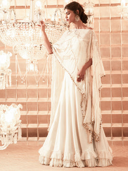 Organza Lehenga with Embroidered Cape