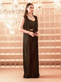 Black Satin Georgette Pre-Draped Saree