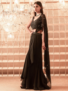 Black Crepe Skirt Saree