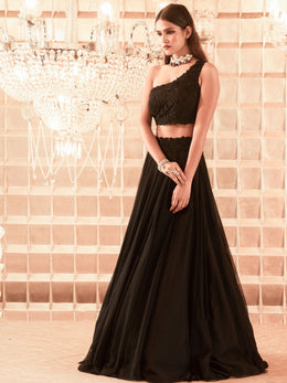 Black Lehenga with One Shoulder Blouse