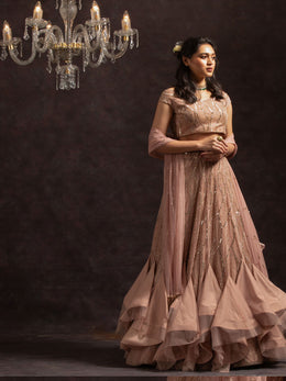 Pink Ruffled Lehenga with Blouse and Dupatta