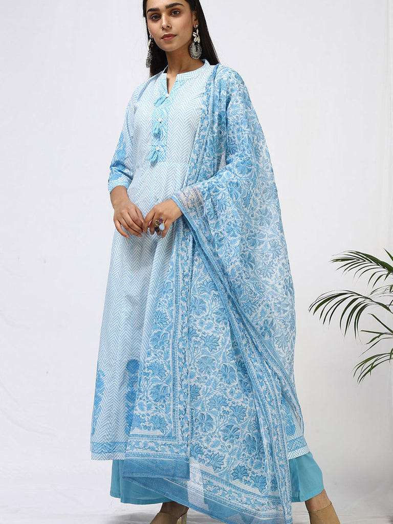 Nirjara Blue Printed Suit Set