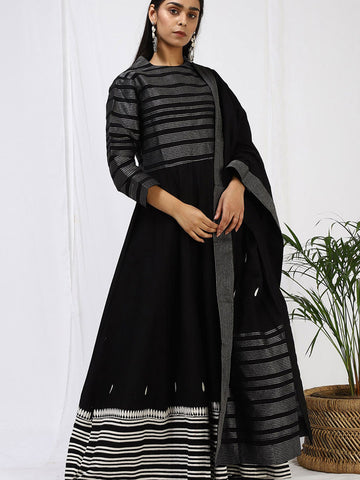 Rooh Black Anarkali Set