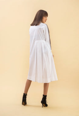 White Asymmetric Flared Dress
