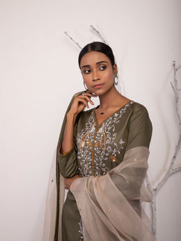 Dark Olive Embroidery Prajna Set
