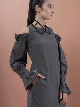 Grey Box Dress With Cold Shoulders and Asymmetric Hem