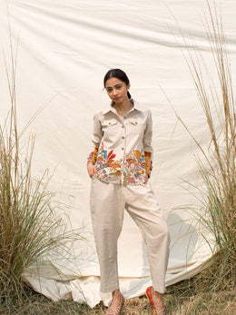 Striped Shirt and Trousers with Embroidery