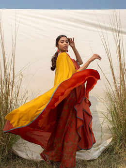 Red Kaftan with Mustard Yellow Slit Sleeves