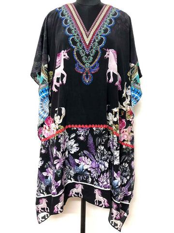 Knee-Length Printed Kaftan with Crystal Embellished Neckline