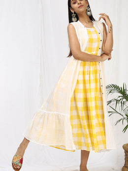 Arushi Lemon Yellow Maxi and Cape Set