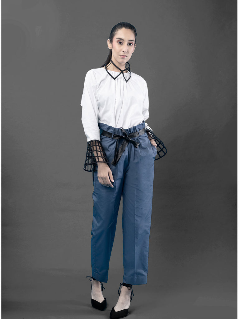 Blue Straight Bucket Pant with Belt