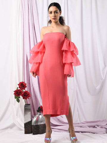 Pretty in Pink Flounce Sleeve Dress