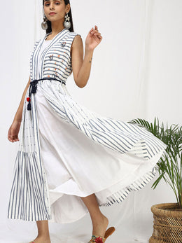 Niran Blue Stripes and White Cape Set