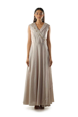 Grey Overlapped Embroidered Gown with a Side Pocket