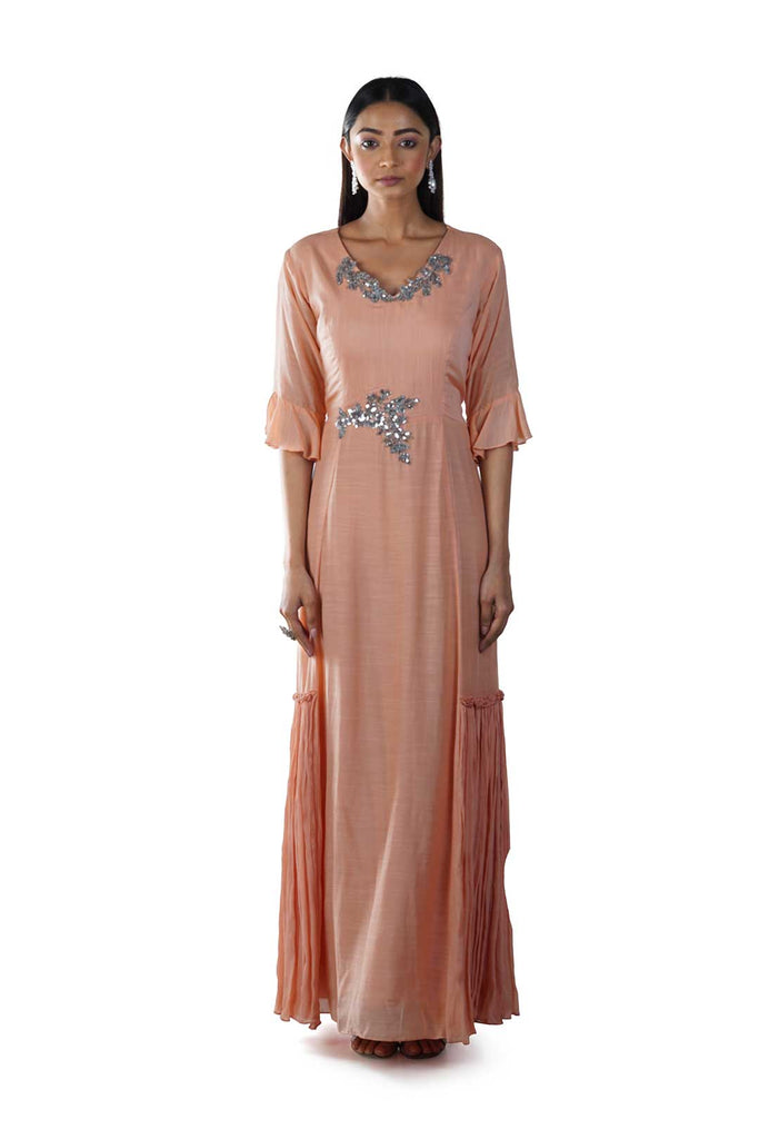 Peach Embroidered Bell Sleeves Gown with Side Frills