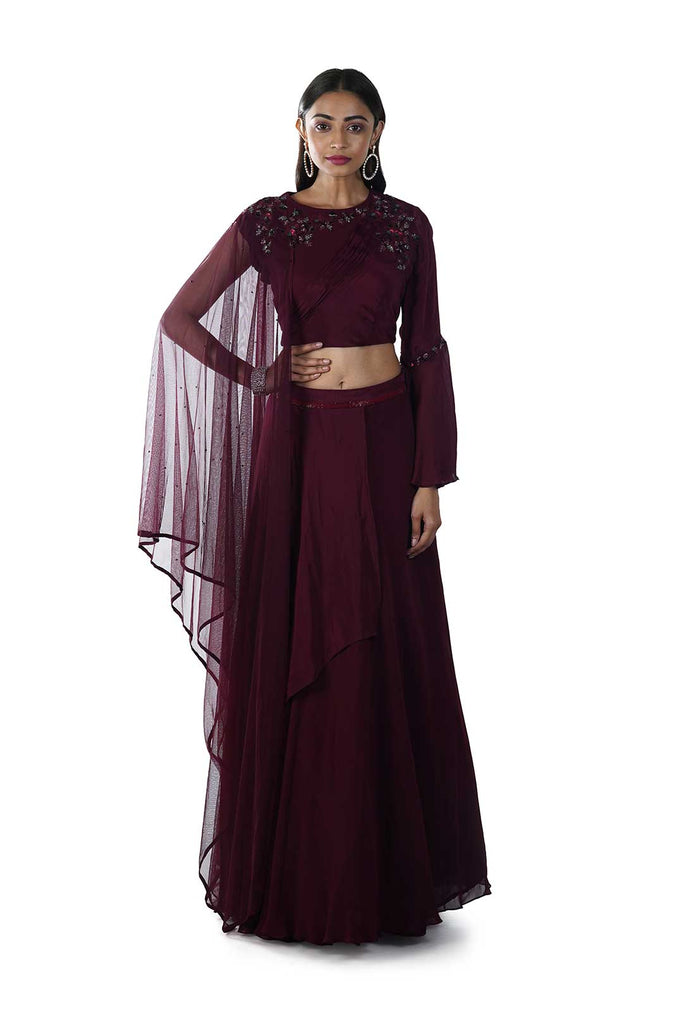 Wine Pleated Cape Blouse and Layered Lehenga Set