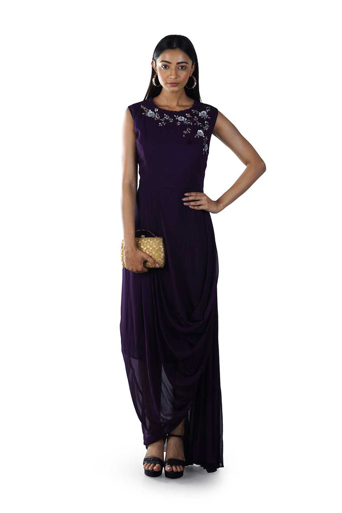 Plum Floral Embroidered Draped Gown