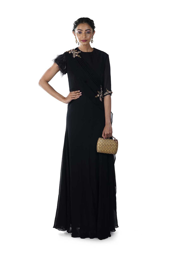 Black Hand Embroidered Gown with Feathered Sleeves