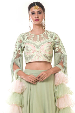 Green Layered Skirt with Blouse and Ruffle Net Dupatta