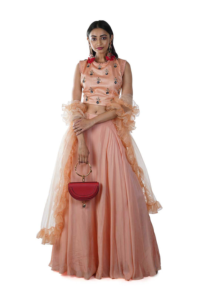 Peach Blouse and Lehenga with Ruffle Dupatta