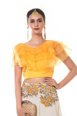 Yellow Frill Blouse with Embroidered Beige Silk Lehenga
