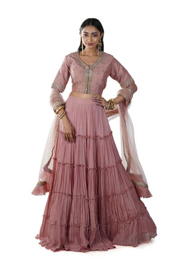Blouse Layered Ruffle Lehenga and Pleated Dupatta