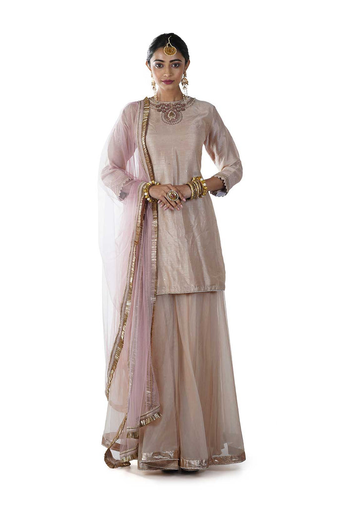 Embroidered Beige Short Kurta with Oraganza Sharara and Pink Dupatta