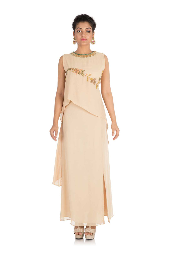 Hand Embroidered Light Beige Double Layered Gown