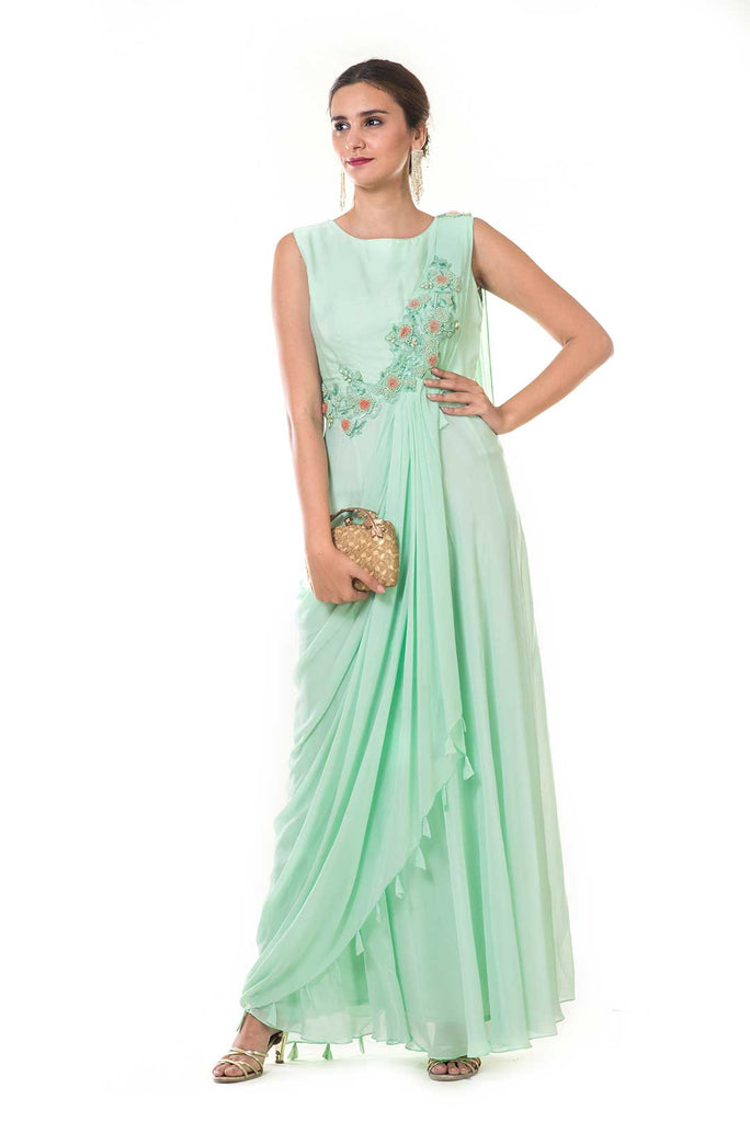 Aqua Green Hand Embroidered Pleated Draped Gown