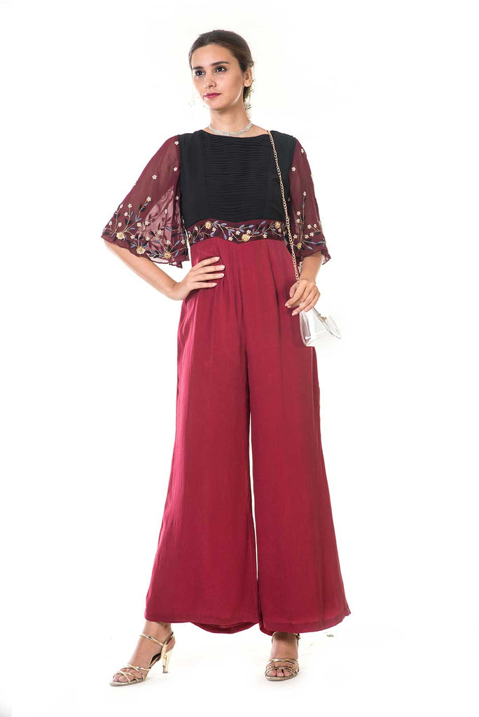 Embroidered Bell Sleeves Jumpsuit with Pleated Yoke
