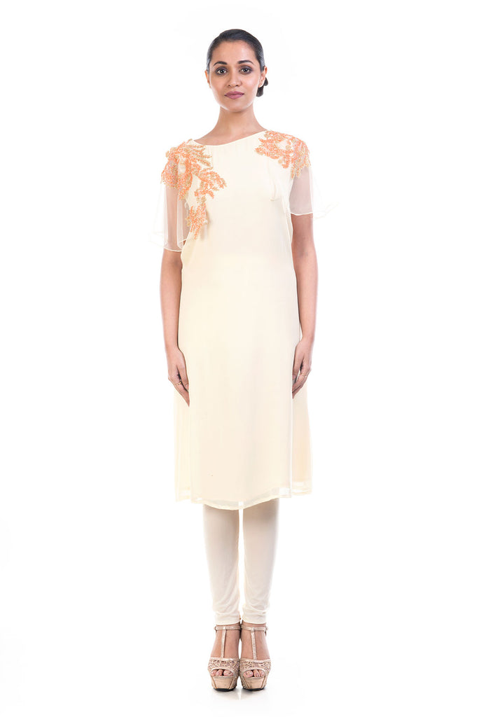 Ivory Georgette Tunic with Net Cape Sleeves