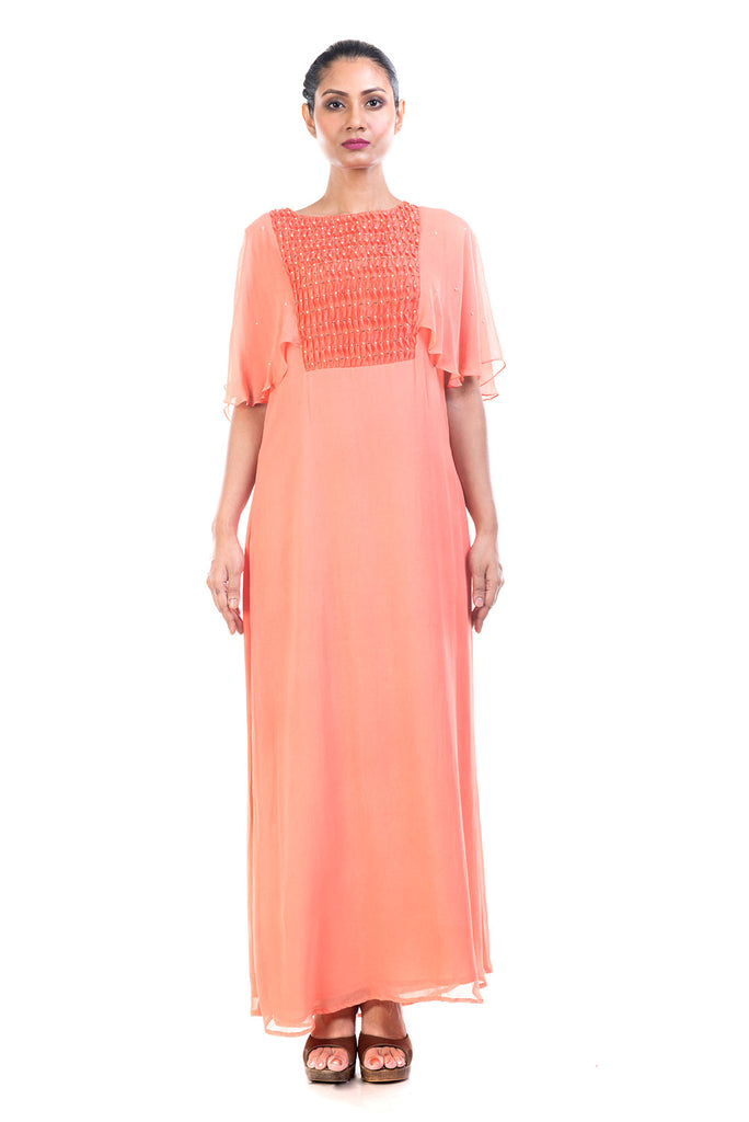 Peach Georgette Tunic with Cape Sleeves