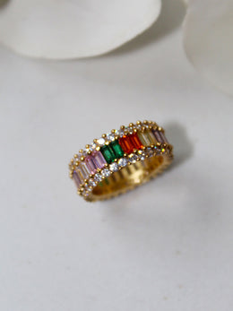 18K Gold Plated Majestic Rainbow Ring