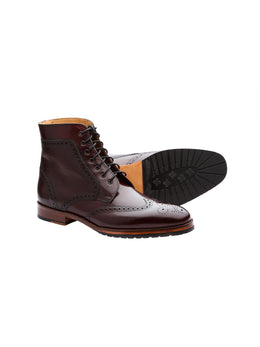 Brogue Burgundy Natural Crust Boots