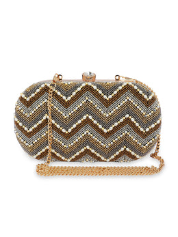 Gold Chevron Embroidered Clutch