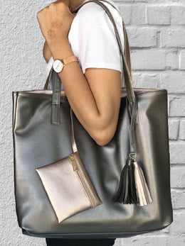 Rose Gold and Grey Reversible Tote