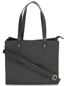 Solid Black Everyday Tote Bag