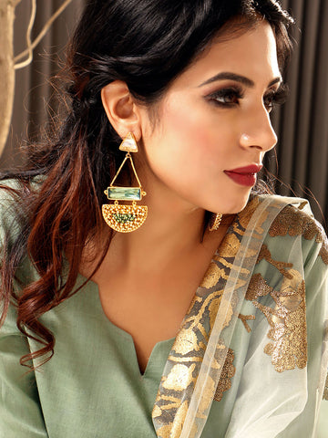 Bandra Earrings With White And Green Crystalline Stone
