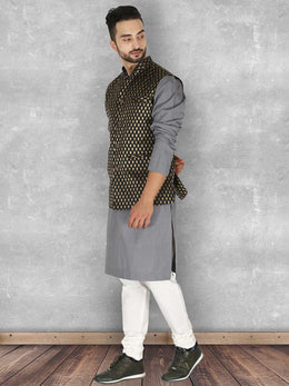 Chanderi Black Ambi Woven Nehru Jacket
