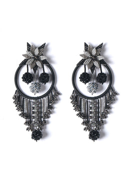 Black Owl Earrings With Multi Color Beads