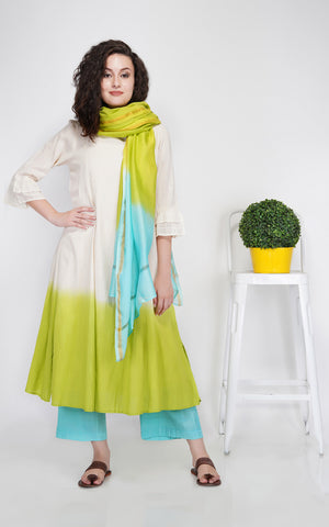 A-Line Kurta with Wide Pants and Chanderi Dupatta