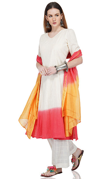 Back Tie-Up Kurta Paired with Ecru Pants and Chanderi Dupatta