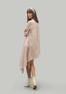 Pink Asymmetric Full Sleeves Tunic